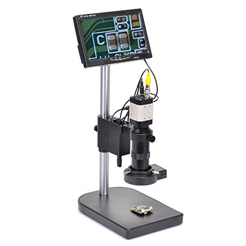 HAYEAR 800TVL CCD 100X Microscope Industrial Camera Zoom C-Mount Lens BNC Output 40 LED Ring Light+ 7
