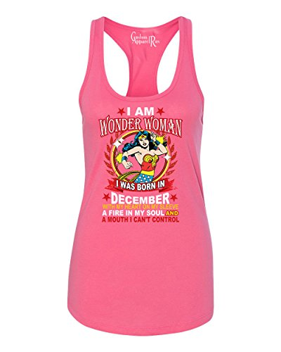 Wonder Woman Born In December Superhero Womans Racerback Tank Hot Pink (Hot Female Superheros)