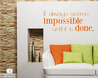 Impossible Until It's Done Wall Decal - Nelson Mandela Vinyl Quote Custom Home Decor