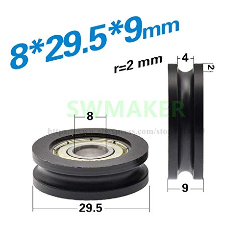 Fevas 10pcs 829.59cm 608 Bearing Pulley, U Groove Wheel, Nylon Plastic Wheel, 4mm Guide Wheel