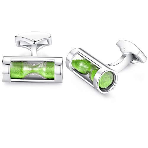 (Honey Bear Hourglass Cufflinks for Mens - Funnel Sand Timer Stainless Steel, for Business Wedding Gift (Green))