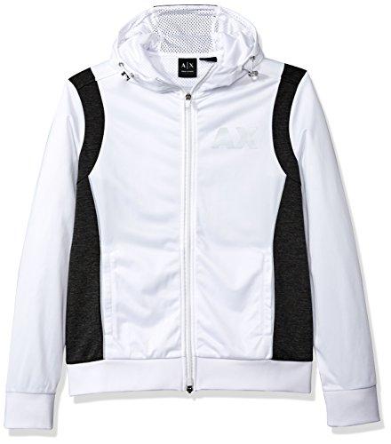A|X Armani Exchange Men's Sporty Full Zip Hoodie With Reflective Logo, White/Htr Dk Grey, Large by A|X Armani Exchange