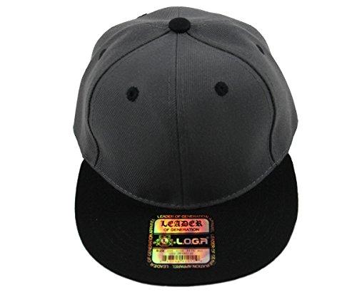 Kid's Youth Plain Flat Bill Snapback Caps(More Colors) (Dark Gray/Black)