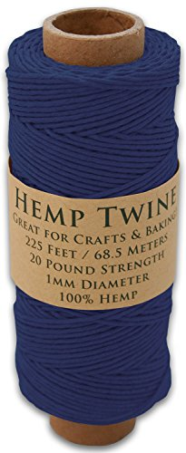 225 Foot Spool of 1mm 100% Hemp Twine Bead Cord in Your Choice of Color (Navy Blue) -