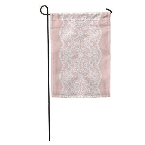 Semtomn Garden Flag Pink Lace White Lacy Vintage Elegant Trim Edging Pattern Abstract Home Yard House Decor Barnner Outdoor Stand 12x18 Inches Flag