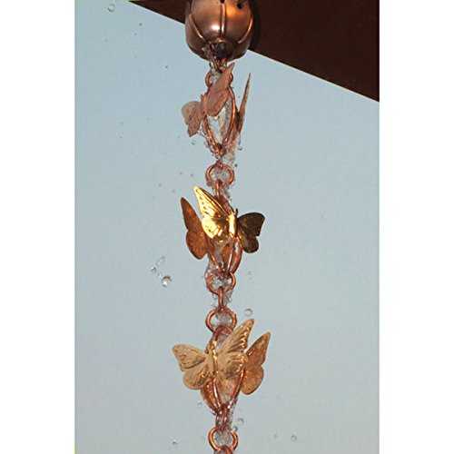 Cascading Butterfly Pure Copper 8.5-foot Rain Chain with Triangular Gutter Clip by Monarch