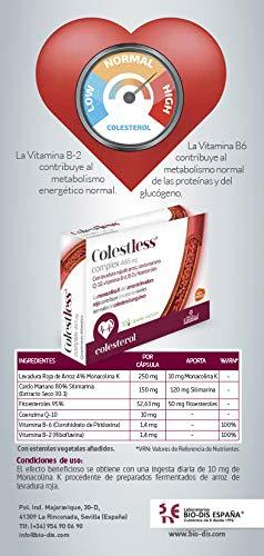 Colestless complex 465 mg. Con levadura roja de arroz, cardo mariano, Q-10, Vitaminas B-6, B-2 y fitoesteroles. 30 capsulas vegelates (Pack 2)