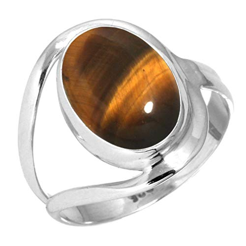 Natural Tiger Eye Ring 925 Sterling Silver Handmade Jewelry Size 6 ()