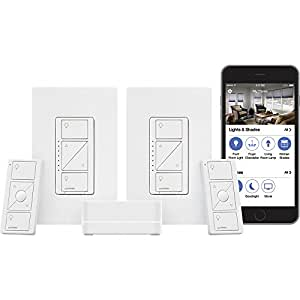 LUTRON P-BDG-PKG2W-A Caseta Wireless Smart Lighting Deluxe Starter Kit: 1 Smart Bridge, 2 In-Wall Smart Dimmers with Wallplates and 2 Pico Remotes, Works with Amazon Alexa
