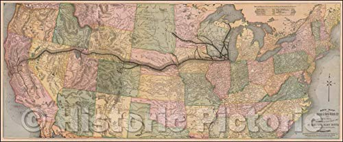 Historic Map - New Map of the Chicago & North-Western R'y The Trans-continental Route, Omaha & California Line, St. Paul Line, (Elroy Route,), 1875 - Vintage Wall Art 87in x ()