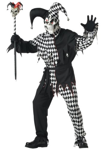 California Costumes Black and White Evil Jester Adult Costume, Black/White, Small