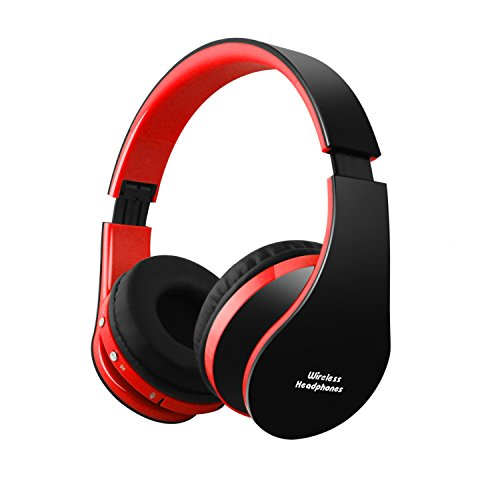 FX-Victoria Dual Mode Wireless Over-Ear Headphone On Ear Headphone Stereo Headset Lightweight Design, Compatible with iPods, iPhones, iPads, Smartphones, Tablets, PC and Laptops-Black with Red