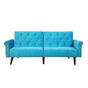 Modern Tufted Velvet Splitback Recliner Sleeper Futon Sofa with Nailhead Trim (Blue)
