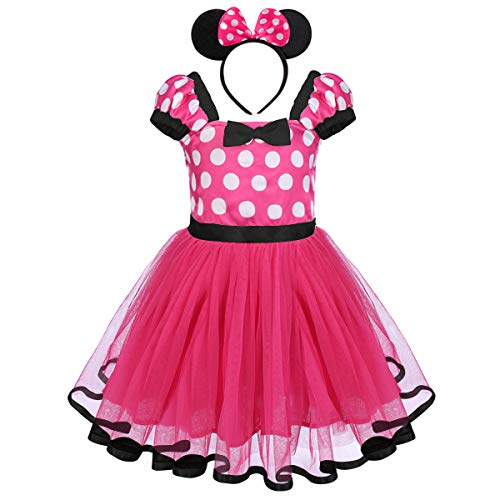 Girls Polka Dots Princess Minnie Costume Christmas Birthday Party Dress up with Mouse Ears Headband 2PCS Set Children Halloween Carnival Dance Fancy Dress for Kids Baby Photo Cosplay Hot Pink 12-18M