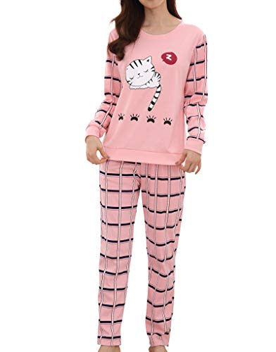 YUEXIN Big Girls Gridding Pajama Set Cute Sleepy Cat Cartoon Sleepwear 8-16Years -
