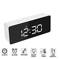 Amisofia White LED Digital Simple Electric Dual Alarm Clocks Mirror with Weekday Mode Snooze, 2 Levels Adjustable Brightness for Bedroom, Office & Travel Silver
