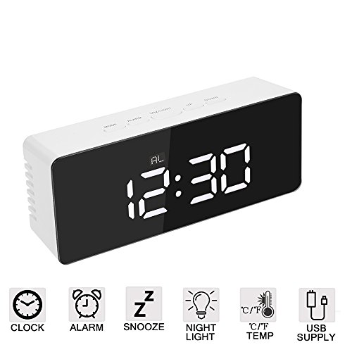 Amisofia Bright White LED Digital Simple Electric Dual Alarm Clocks Mirror with Snooze, 2 Levels Adjustable Brightness for Bedroom, Office & Travel Silver