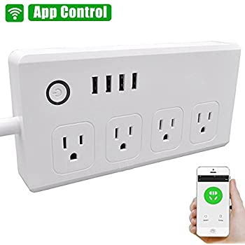 WiFi Smart Power Strip, Loonfree Smart Surge Protector with 4 USB Ports and 4 Outlets for Multip-Plug Socket Connector Extension Cord, Works with Alexa, Voice Controlled by Amazon Echo