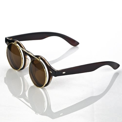 Steampunk Rétro Cercle à rabat en Lunettes de soleil Vintage Double housse à clapet Lunettes de lunettes de natation noir Noir taille unique KkOWlZ4XDJ