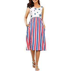 Imily Bela Women's Sleeveless Floral Print Stars and Stripes Racerback Midi Tank Dress USA Flag