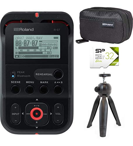 Roland R-07 High Resolution Audio Recorder (Black) Bundle with Padded Travel Pouch for R-07, Silicon Power 32GB microSDHC Memory Card with Adapter, and VidPro TT-6 Table Top Camera Tripod