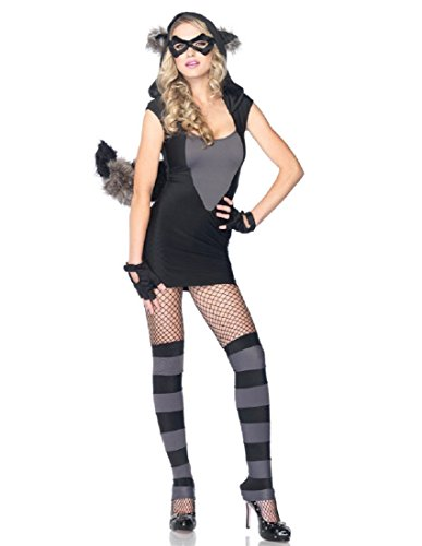(Leg Avenue Women's Risky Raccoon Costume, Black/Gray,)