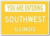 The Lizton Sign Shop You Are Entering Southwest, Illinois - Novelty U.S. City State Aluminum Sign - Yellow - 10''x14''