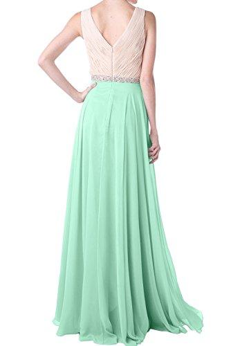 Einfach Festkleid Abendkleider Chiffon Ballkleider Ivydressing Lang Ausschnitt V Grün Damen 07RnwCxaq5