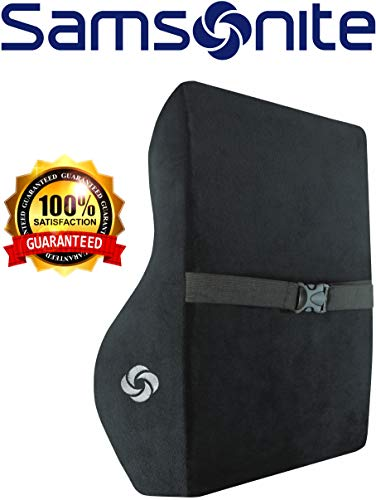 Samsonite SA5447 \  Full Size Lumbar Support \ 100% Pure Memory Foam \ Helps Relieve Lower Back Pain \ Fits Most Seats