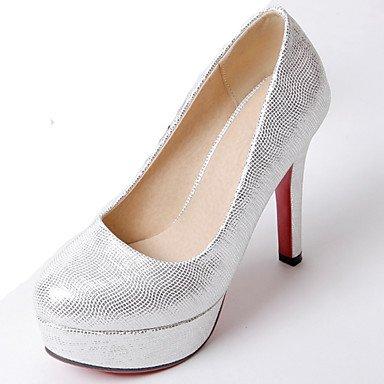 Talones de las mujeres Zapatos Primavera Verano Otoño Invierno Club de la PU de la Oficina de boda y carrera vestido de tacón de aguja Negro Rosa astilla Silver