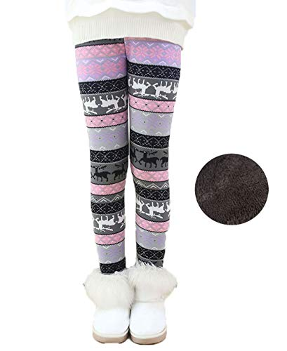 Toddler Kids Girls Pants Winter Thick Fleece Lined Christmas Leggings Tights (tri Color Plum, 4T)
