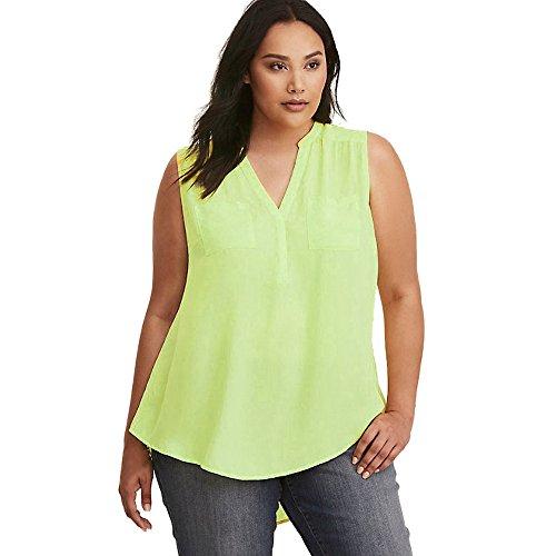 FarJing Hot sale Womens Fashion Loose Business Wear Plus Size Sleeveless Blouse Shirt Top (2XL,Green)