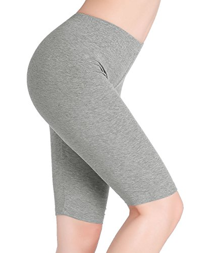 - CnlanRow Womens Under Skirt Pants Soft Ultra Stretch Knee Length Leggings Fitness Sport Shorts,Medium,Light Gray