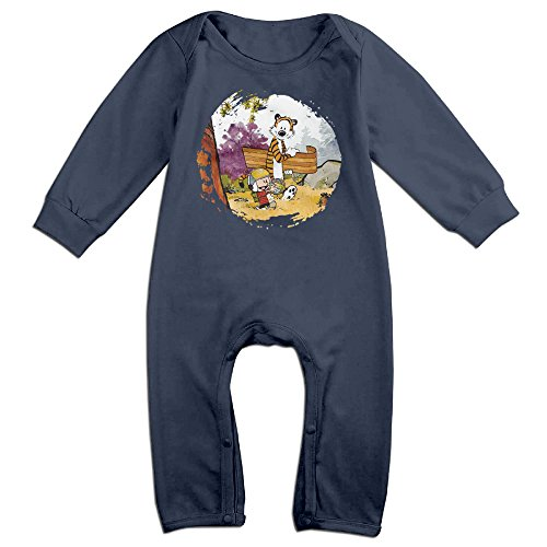 [NCACA Newborn Babys Boy's & Girl's Calvin And Hobbes Long Sleeve Jumpsuit Outfits For 6-24 Months Navy Size 6] (Baby Golfer Costume)
