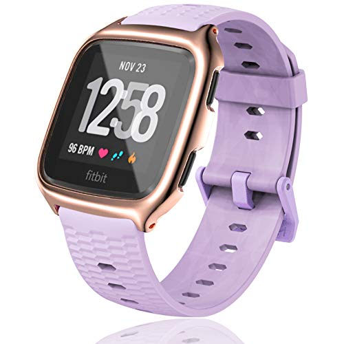 MIJOBS Sport Bands Compatible with Fitbit Versa/Versa 1, Silicone Watch Band Breathable Strap Replacement Straps Wristbands for Women Men
