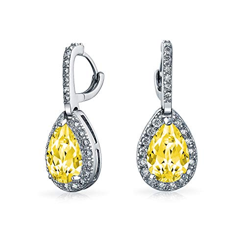5CT Canary Yellow Teardrop Pave Halo Cubic Zirconia Drop Huggie Earrings CZ Simulated Citrine Silver Plated Brass