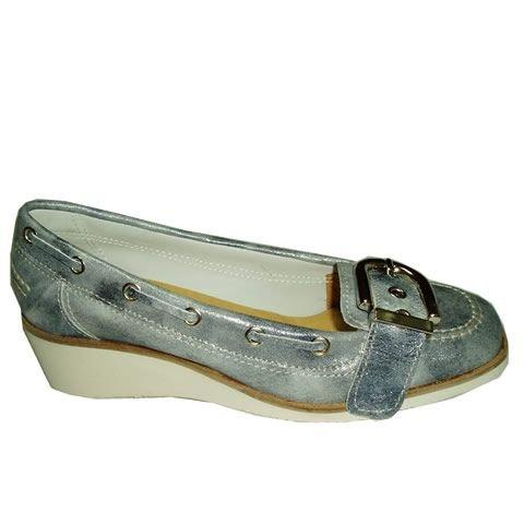 Pielsa XL09 Galaxi Marine - Mocasín cuña de piel para mujer: Amazon.es: Zapatos y complementos