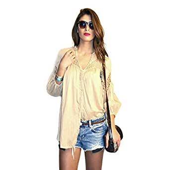 Hipster Arb1Cbg-M Blouse Top For Women - M, Beige