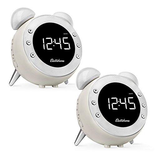 Electrohome Retro Alarm Clock Radio with Motion Activated Night Light and Snooze, Digital AM/FM Radio, Wake-up Light, Dual Alarm, Auto Time Set, Battery Backup, and Dimmer - 2 PACK