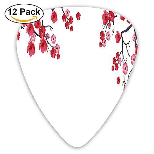Newfood Ss Branch Of Sakura Traditional Ornamental Floral Artwork Print Guitar Picks 12/Pack Set