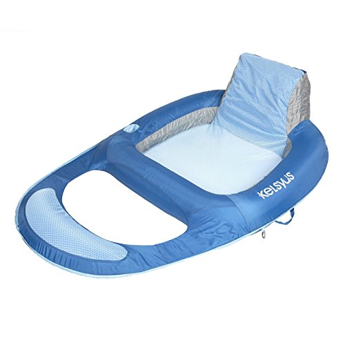 Kelsyus Floating Pool Lounger Inflatable Chair w/Cup Holder, Blue (6 Pack) by Kelsyus (Image #1)