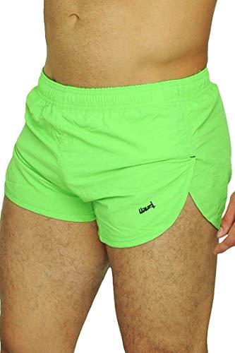 UZZI Men's Running Shorts Swimwear Trunks 1830, Neon Green, Large