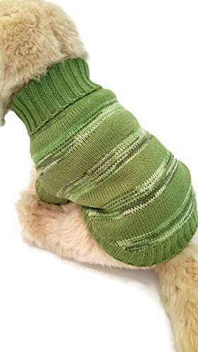 - Le Petit Chien Small Dog Puppy Cable Knit Sweater (Small, Green Striped)