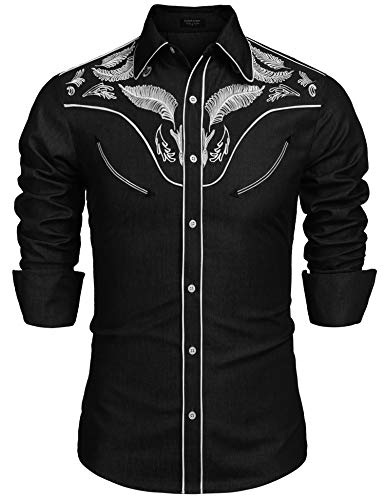 COOFANDY Men Long Sleeve Western Cowboy Embroidery Casual Button Down Shirt ()