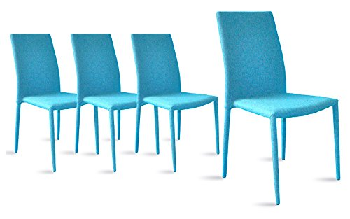 Dining Room Chairs Set of 4, Fabric Chair for Living Room 4 Pieces (Blue) For Sale