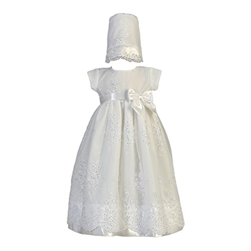 Lito Baby Girls White Embroidered Organza Sequin Christening Gown 6-12M