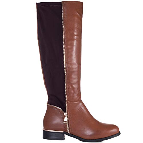 Knee Zip Leather Provence Flat Tan Spylovebuy Women's Tall Style High Boots qgITZnRw