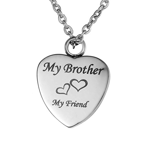 Valyria ''My Husband My Friend Urn Heart Pendant Necklace Memorial Ash Keepsake(Free Engraving) (Brother)