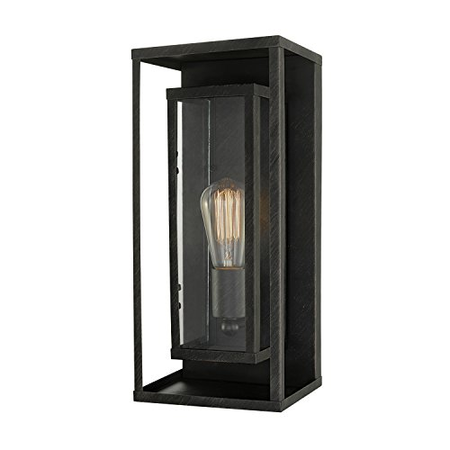 Globe Electric 44228 Montague 1-Light Outdoor Wall Sconce, Bronze Finish, Clear Glass Shade, Bronze with Clear Glass (1 Electric)