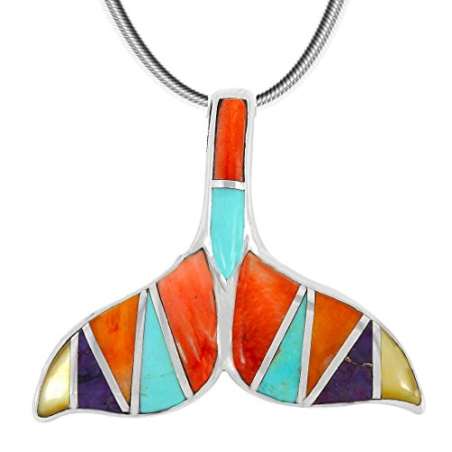 Sterling Spiny Oyster (Whale Tail Pendant Necklace Sterling Silver Genuine Turquoise & Gemstones (20